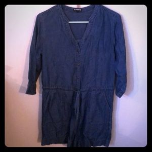 Denim drawstring romper